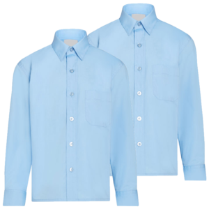 Twin Pack Boys Long Sleeve Shirts Blue