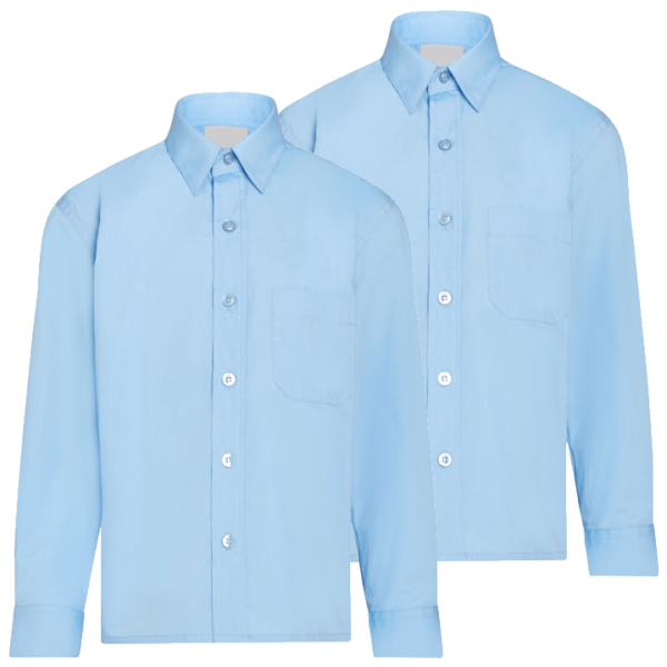Twin Pack Boys Long Sleeve Shirts Blue