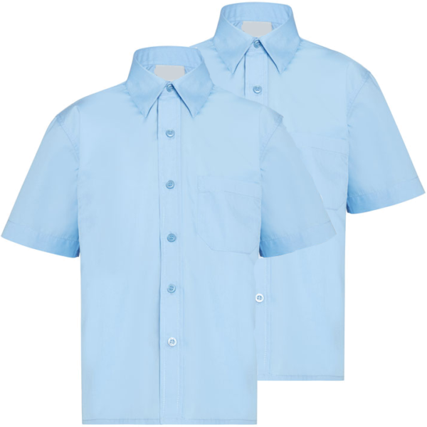 Twin Pack Boys Short Sleeve Shirts Blue